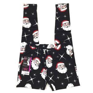 Christmas Santa Face Ankle Length Leggings XS Jr
